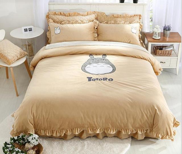 Winter Flannel totoro duvet cover bed skirt pillowcases