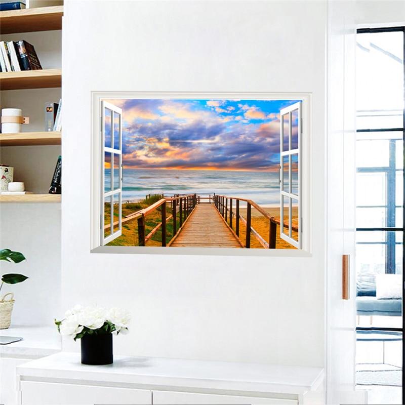 Wall Window Decal 3d Art Decor Home Beach Scenery Sunshine View Vinyl Sticker Re