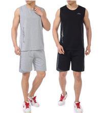 Quinquagenarian men's clothing male T-shirt set sleeveless knee-length pants men chalecos slim men sleeveless vest 2017 summer