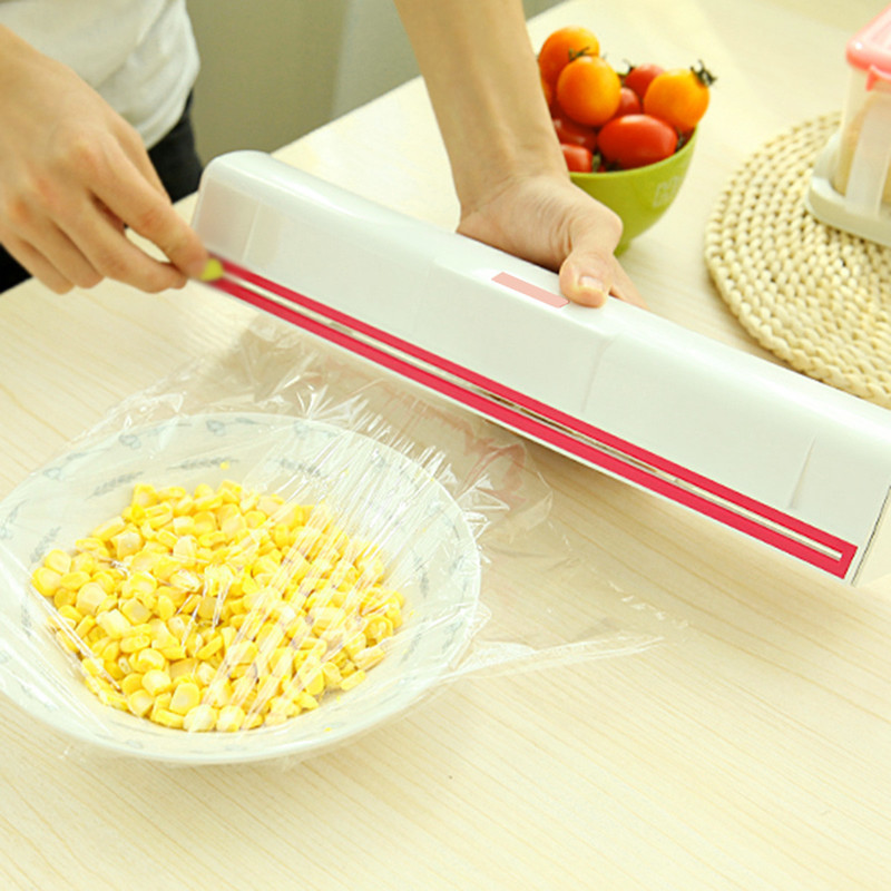 Food Plastic Cling Wrap Dispenser Preservative Film Cutter Kitchen Tool Accessories Cooking Tools Cling Wrap Dispenser