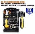 34pcs Ratcheting Bits nut socket screwdriver Ratchet Wrench extension adaptor Precision Multitul Telecom Repair Hand ToolsAD1027