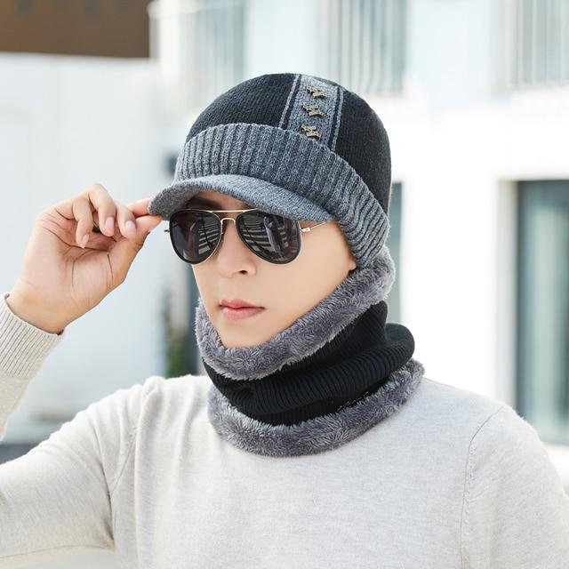 Ymsaid invierno Skullies gorros sombrero bufanda hombres sombrero Gorras  hombre Gorras Bonnet invierno sombreros para hombres 6eb5d428a877