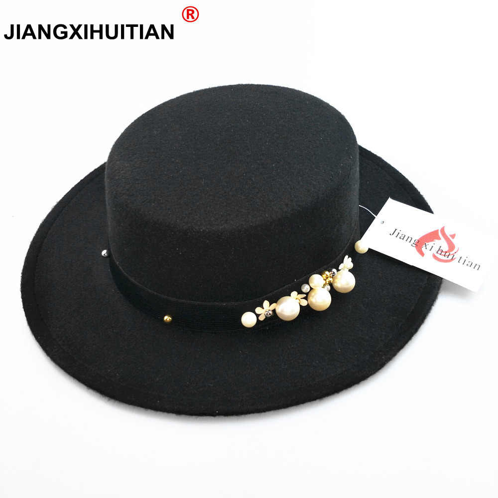 aa7733f26e1 2017 new pearl chapeau femme Vintage fashionable black top felt fedora hat  men sombrero bowler church