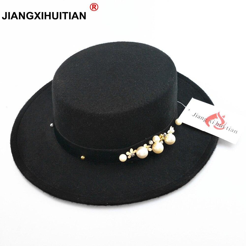 € 6 08 10% de réduction|2017 nouveau chapeau femme perle Vintage à la mode  noir haut feutre fedora chapeau hommes sombrero bowler église trilby