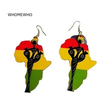 Laser Cut Natural Wood Handmade Painting Africa Map black Queen African Minimalism Earrings Vintage Wooden DIY Party Ear Jewelry