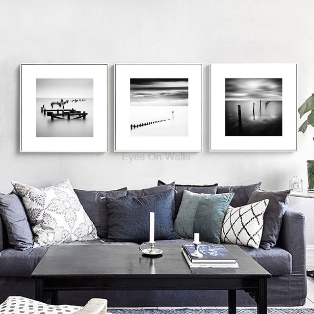 Black And White Photography Seascape Canvas Painting Nordic Art Posters Prints Wall Pictures Modern Home Decor 3 Pieces Unframed