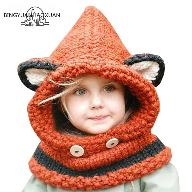 BINGYUANHAOXUAN2017 Winter Outdoor Hats Knitting Wool Cat Soft warm Hats for Baby Girls Shawl Beanie Hats Caps Set and Scarf set 2016 winter new soft bottom solid color baby shoes for little boys and girls plus velvet warm baby toddler shoes free shipping
