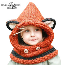 BINGYUANHAOXUAN2017 Winter Outdoor Hats Knitting Wool Cat Soft warm Hats for Baby Girls Shawl Beanie Hats Caps Set and Scarf set garment winter black knitting wool cat soft warm hats for baby girls shawl hooded cowl beanie cap for 2 9years kids