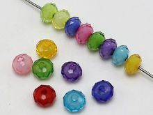 200 Mixed Color Acrylic Faceted Rondelle Spacer Beads 8X6mm Bead in