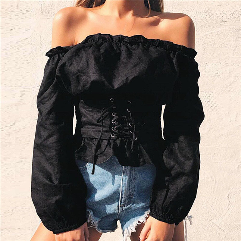 Fashion sexy lace-up shirt Womens Summer Off Shoulder Long Sleeve off shoulder Casual Blouse Corset Tops Shirt summer