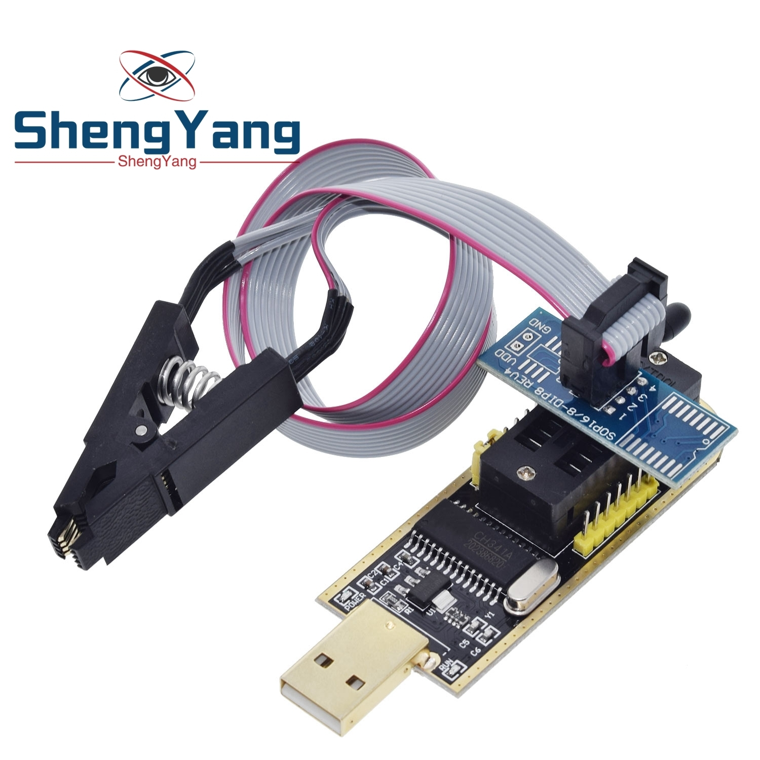 1pcs ShengYang Smart Electronics CH340 CH340G CH341 CH341A 24 25 Series EEPROM Flash BIOS USB Programmer with Software & Driver