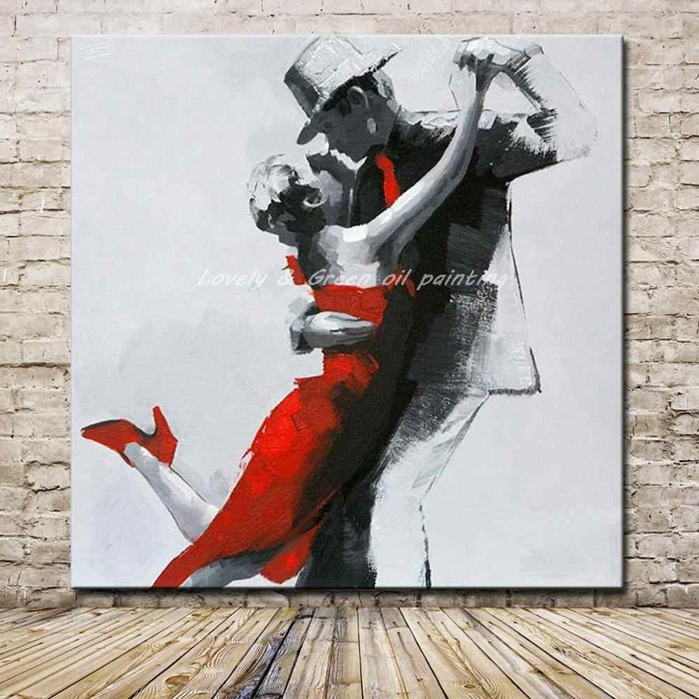 Hand Painted Lover Dancing Oil Painting On Canvas Modern Abstract Wall Art Pictures For Living Room Hotel Decoration No Framed