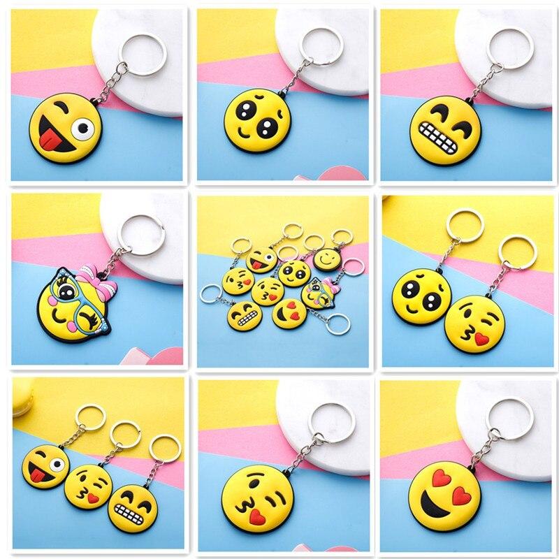 1000pcs Lot Rubber Emoji Keychain PVC keychain cartoon keychains Cute Emoticon Face Emoji Key Chain Bag