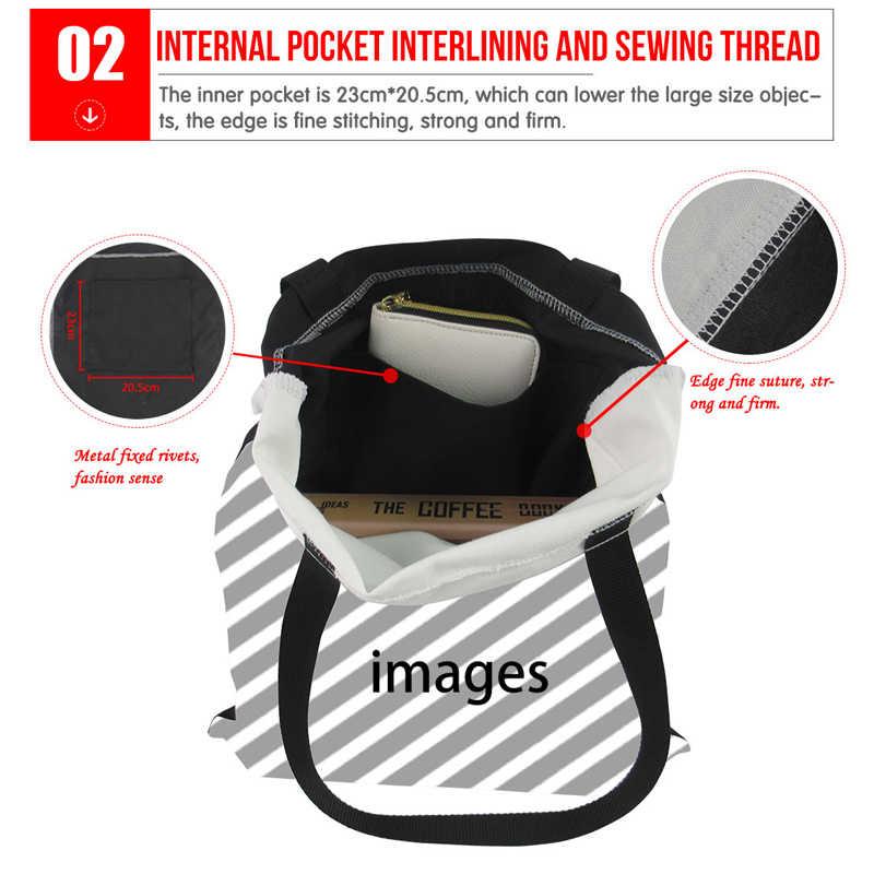 FORUDESIGNS bolso de compras para las mujeres de dibujos animados lindo Alpaca/ovejas impresión reutilizable señoras bolso de lona bolsas Eco bolsa bolsa