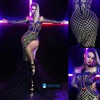 Блестящие кристаллы длинное платье для женщин пикантные вечеринка костюм этап одежда черный стразы вечерние партии праздновать
