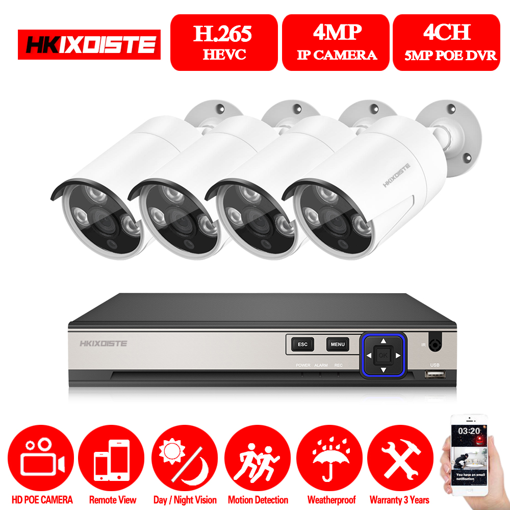 HKIXDISTE 4CH 5MP 4MP POE NVR Kit CCTV Camera System 4.0MP Outdoor Security IP Camera Video Surveillance System Set No HDD image