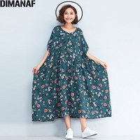 DIMANAF Women Dress Plus Size 2018 New Summer Beach Floral Print Female Oversized Vestidos Casual Vintage