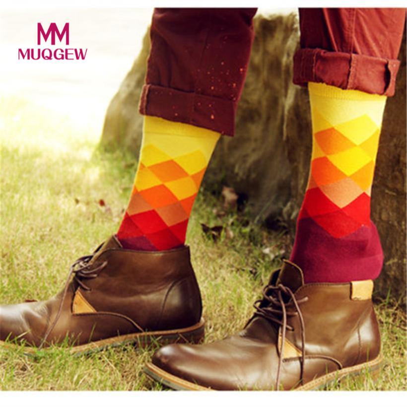 10Pair Fashion High Quality Men Socks Cotton Color Block Crew Socks Warm Colorful Diamond Man Male Casual Socks Accessory