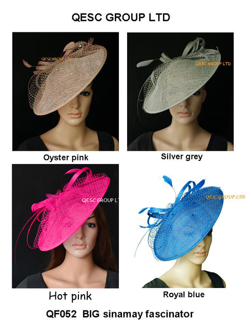 NEW Large Sinamay Fascinator Hat with feathers,sequin and veiling,diameter 35cm,pink,ivory,royal,silver.FREE SHIPPING