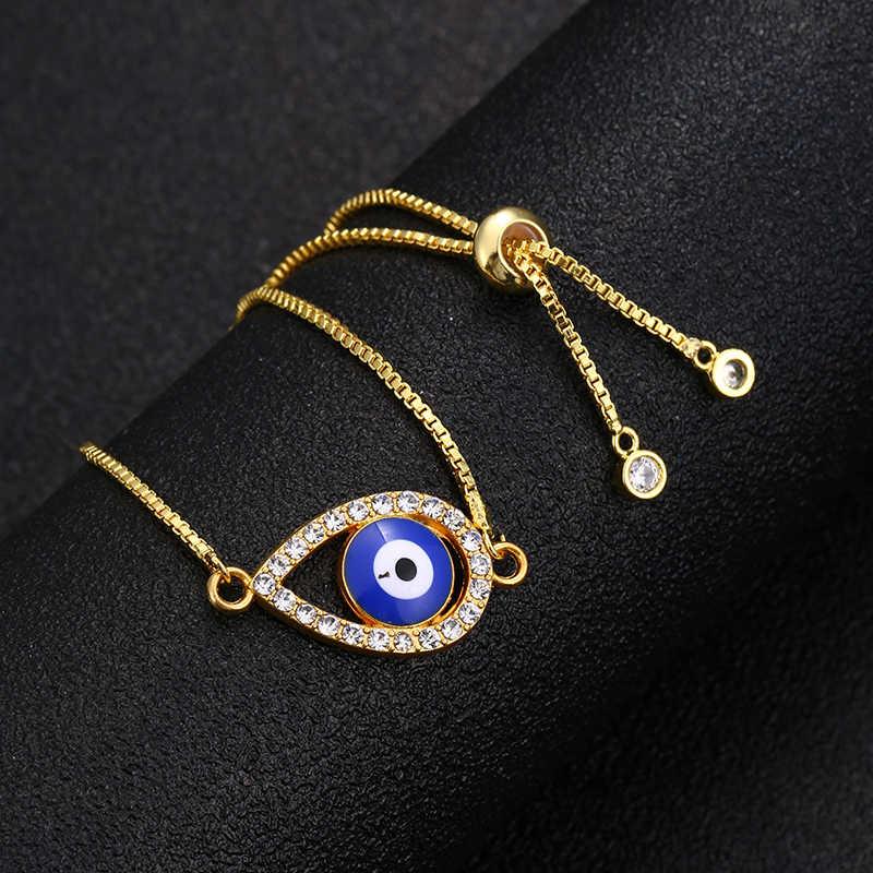Cổ Điển Hợp Thời Trang Thổ Nhĩ Kỳ Vàng Ác Vòng Tay Mắt Mở Đường Mắt Màu Xanh Vàng Dây Chuyền Vòng Tay Có Thể Điều Chỉnh Nữ Trang Sức Dự Tiệc