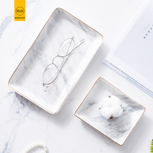 New2019 Marble pattern Jewelry plate Cutlery tray rectangle Golden rim Ring necklace storage Wedding gift Restaurant