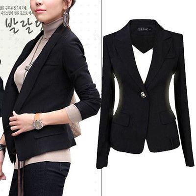2019 Fashion Single Button Solid Full Sleeve New Womens Lapel Suit One Button Tunic Long Sleeve Blazer Jacket Size 6-22