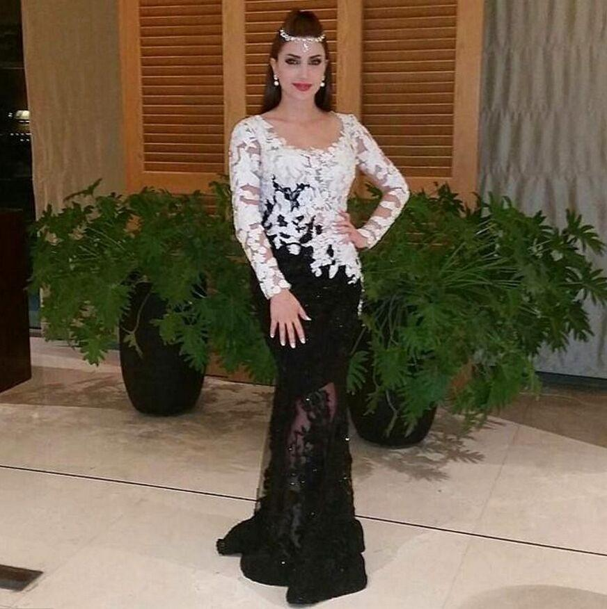 b4c5eefcd9bd6 White and Black Lace Evening Dresses Long Sleeves Mermaid Arabic prom  dresses Applique Scoop Vintage Long Party Evening Gowns-in Evening Dresses  from ...
