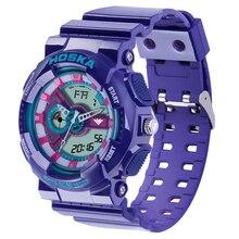 Estudiante marca de Las Mujeres relojes del Cuarzo del deporte reloj digital de Doble pantalla digital de reloj estudiante reloj digital del LED impermeable
