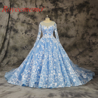 Hot Sale Special Lace Design Wedding Dress Blue And Ivory Color Bridal Gown Long Sleeves Wedding