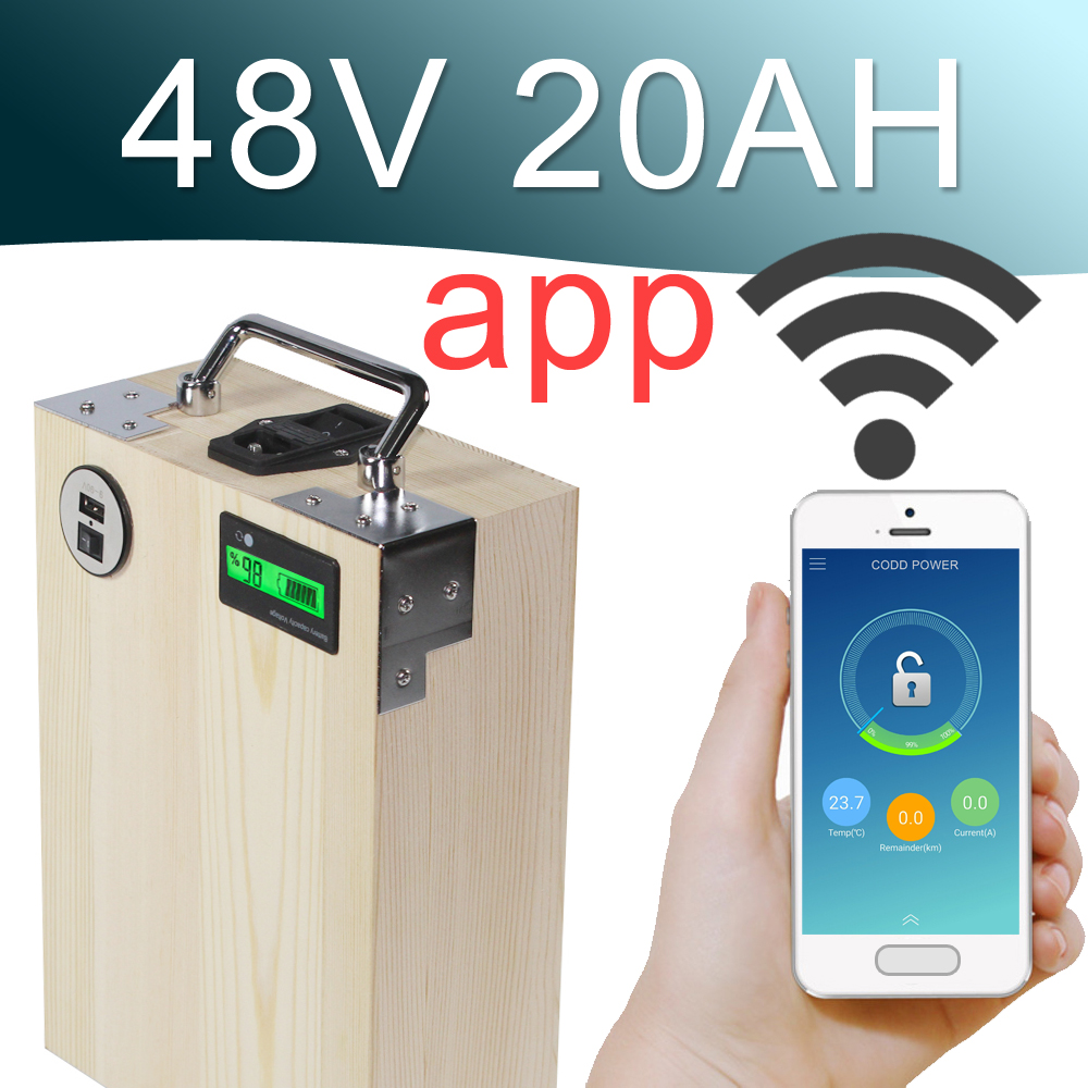 48V 20AH APP Lithium ion Electric bike Battery Phone control USB 2.0 Port Electric bicycle Scooter ebike Power 1000W Wood
