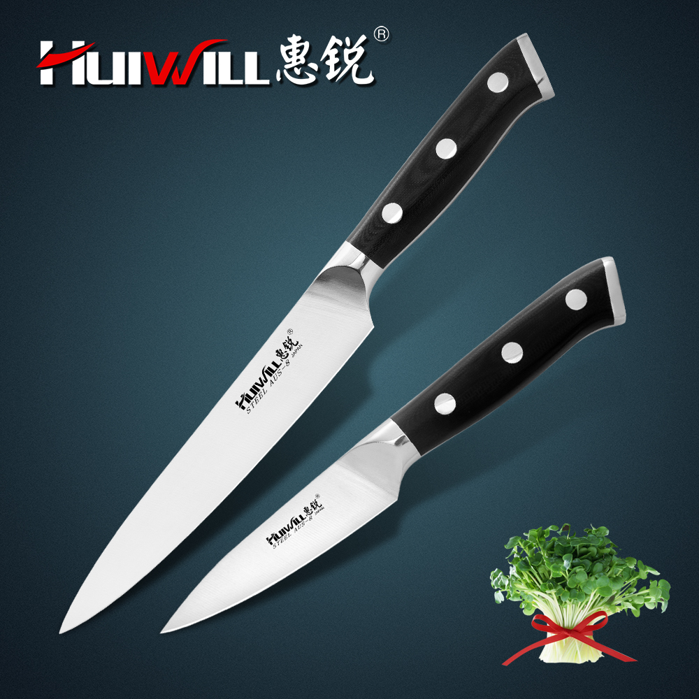 Huiwill High Quality 2pcs Japanese AUS 8 Stainless Steel Utility Slicing knife Paring Peeling Knife