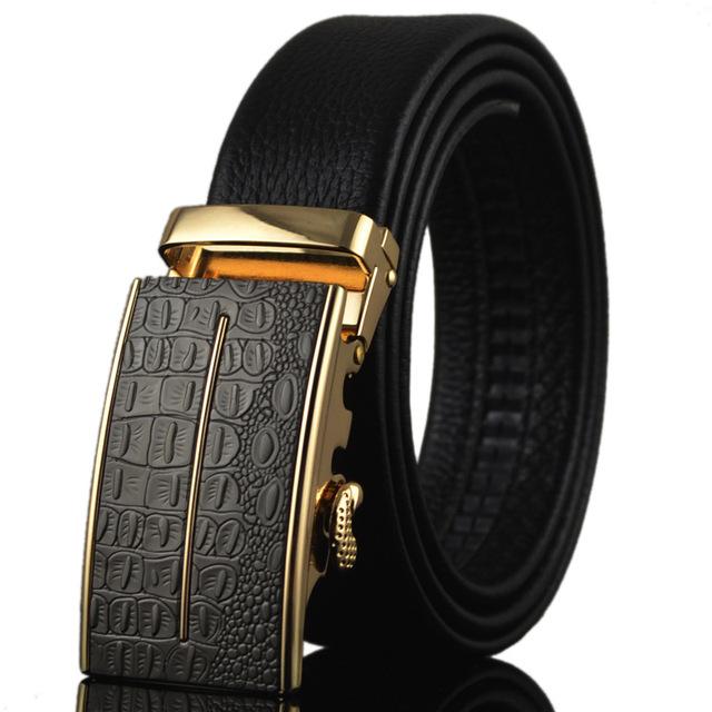 100% impresión de oro de la correa de cuero Genuino hebilla automática cinturones de cuero