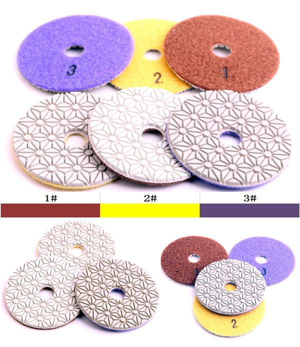 Grit #2 DC-FW3PP02 D100mm flexible diamond wet 3 step polishing pads for granite and engineered stone