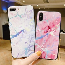 Marble Case For Coque iPhone XR XS MAX 7 8 Plus Love Heart Fundas 6 6s Girly Colors Flower Phone Cover