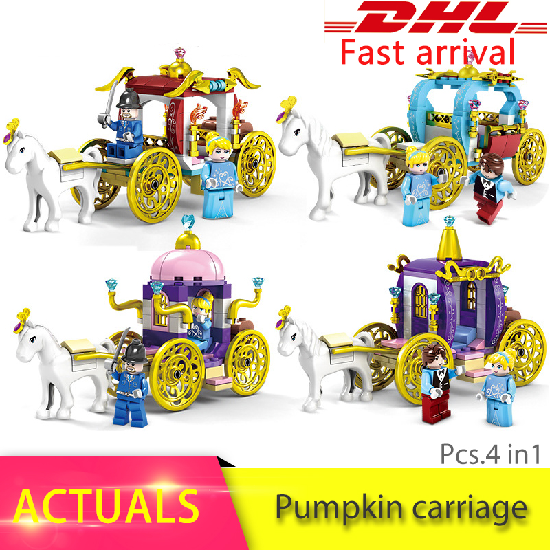 Beatuy Princess 2 in 1 Cinderella's Pumpkin Carriage Building Bricks Blocks Girl Gift Toy Compatible with Legoing Princess Girl lepin 01040 friends girl princess series 514pcs building blocks toy snow resort chalet kids bricks toy girl gifts legoings 41323