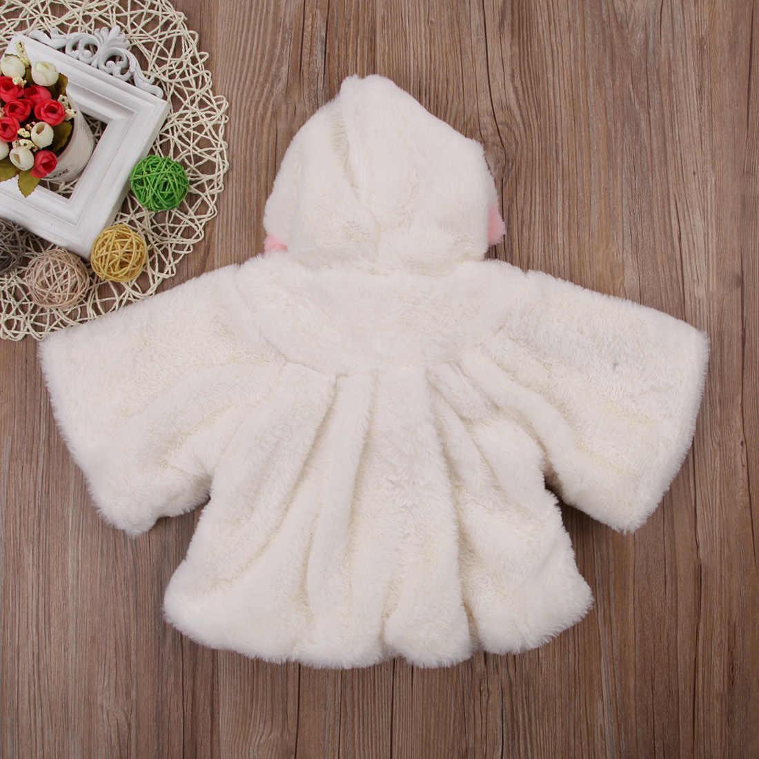 חמוד חורף מעיל עבור בנות יילוד ילדים תינוקת פרווה ארוך שרוול 3D אוזן סלעית מעיל גלימת מעיל חליפת שלג הלבשה עליונה בגדים