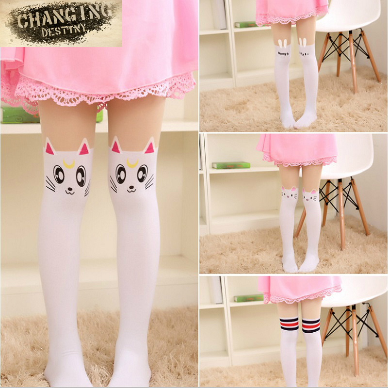 Spring Autumn Cute Children Kids Baby Girl Little Tights Stockings Knee Tattoo Velvet Long White Cartoon Kitten Stockings