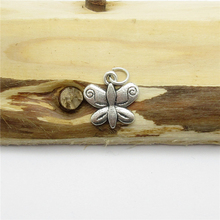 90PCS (13*13mm ) Antique Silver Butterfly Charms pendant fit European bracelet made diy Pendants for jewelry making