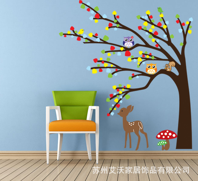 AY9071 Wall Sticker Big Tree And Cute Animals Wall Decals Deer Sticker For  Kids Rooms Nursery Home Decor Free Shipping
