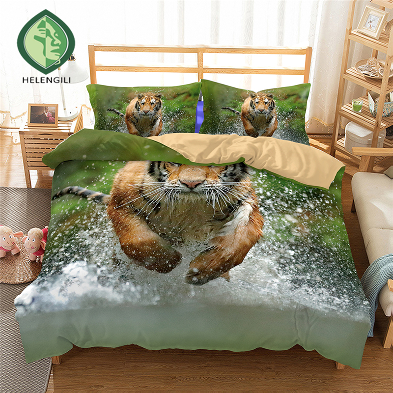 HELENGILI 3D Bedding set Tiger Print Duvet cover set lifelike bedclothes with pillowcase bed set home Textiles #2-03HELENGILI 3D Bedding set Tiger Print Duvet cover set lifelike bedclothes with pillowcase bed set home Textiles #2-03