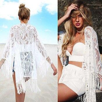 2016 White Sexy Women Lace Crochet Tassel Bikini Swimwear Cover Up Woman Beach Dress Bathing Suit Beach Swimwear cover up 2