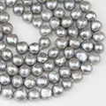 11-12mm grey color large baroque pearl strand,cultured freshwater nugget pearl bead string wholesale,irregular shape