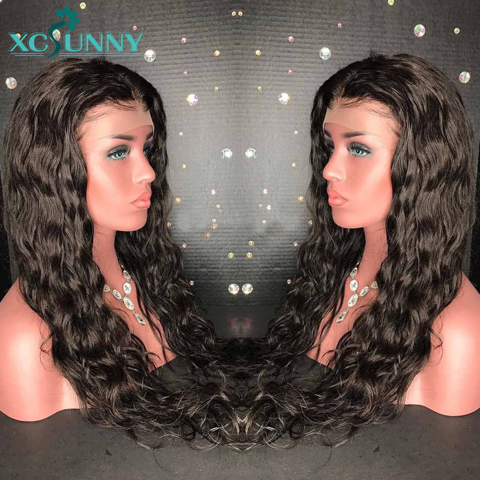 xcsunny 13X6 Water Wave Malaysian Remy Human Hair Lace Front Wigs For Women Pre Plucked Bleached Knots With Baby Hair 180Density
