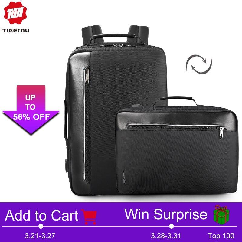 Tigernu 4 в 1 Multi Функция нейлон для мужчин's бизнес плеча рюкзаки 15,6 дюймов зарядка через usb Рюкзак Для Ноутбука Мужской Mochila путешествия
