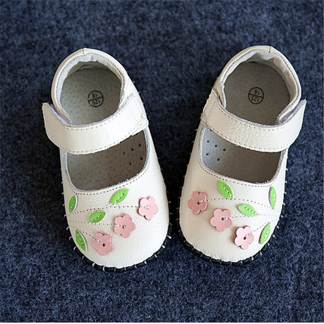 New 2016 Spring Baby First Walkers Sweet Flowers Soft Genuine Leather Baby Girls Shoes #2981