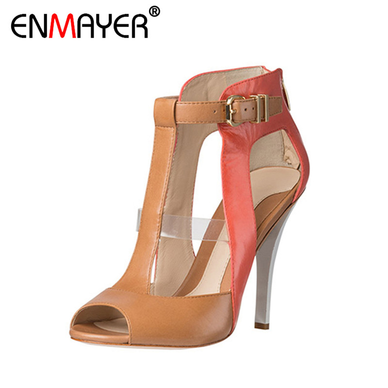 ENMAYER Peep Toe Extreme High Heels Buckle Strap Zip Sexy Sandals Women Shoes Hot Fashion Summer Women Pumps for Party Wedding high quality new summer fashion hot women shoes thin high heels sexy party shining ladies peep toe metallic color pumps sandals
