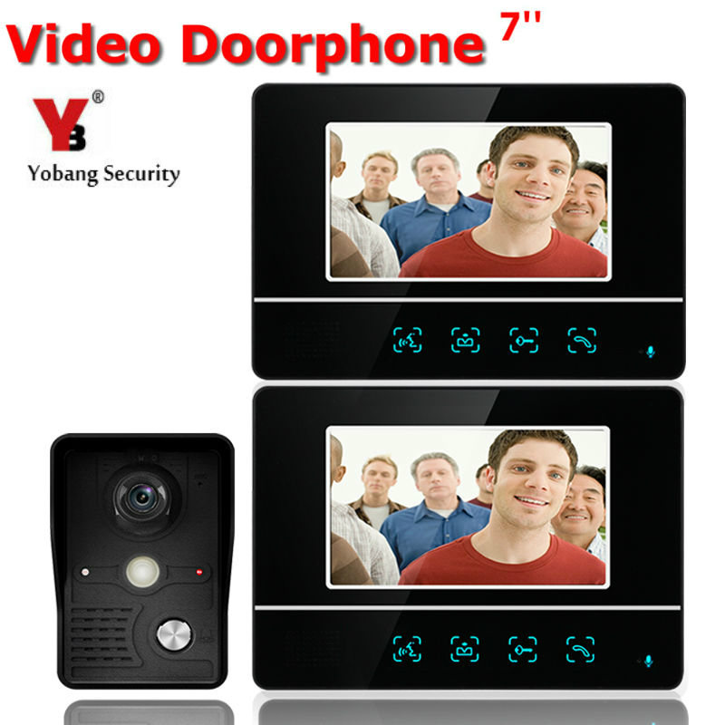 YobangSecurity 7 Inch Video Door Phone Video Doorbell Entry System Intercom Kit 1-camera 2-monitor Night Vision Security Camera