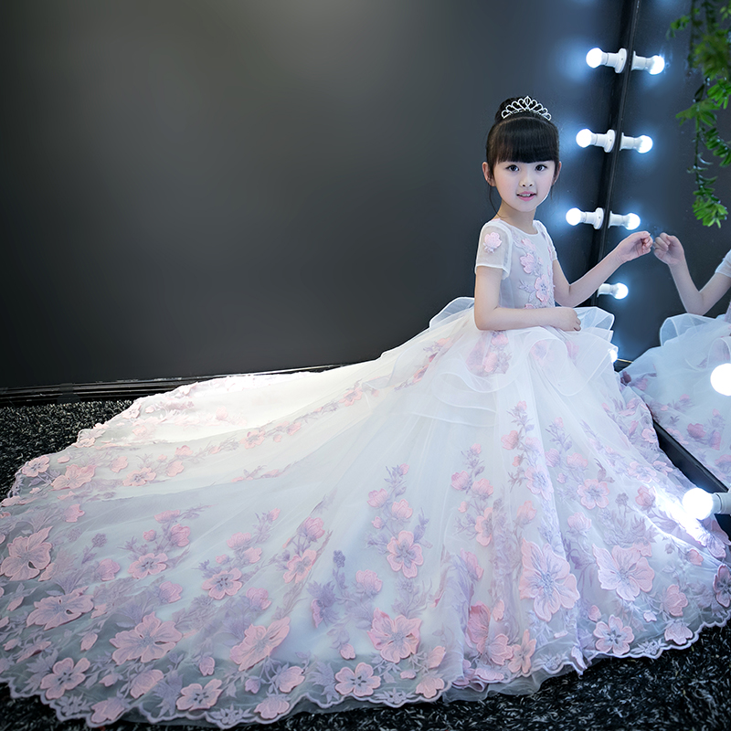 Luxury 2018 Long Tailing Ball Gown Kids Pageant Dress For Wedding Birthday Appliques Mermaid Princess Flower Dress M48Luxury 2018 Long Tailing Ball Gown Kids Pageant Dress For Wedding Birthday Appliques Mermaid Princess Flower Dress M48