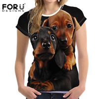 FORUDESIGNS 3D Dog Horse T Shirt Women Tee Tops Femme Brand Panda Kawaii Ladies Basic T
