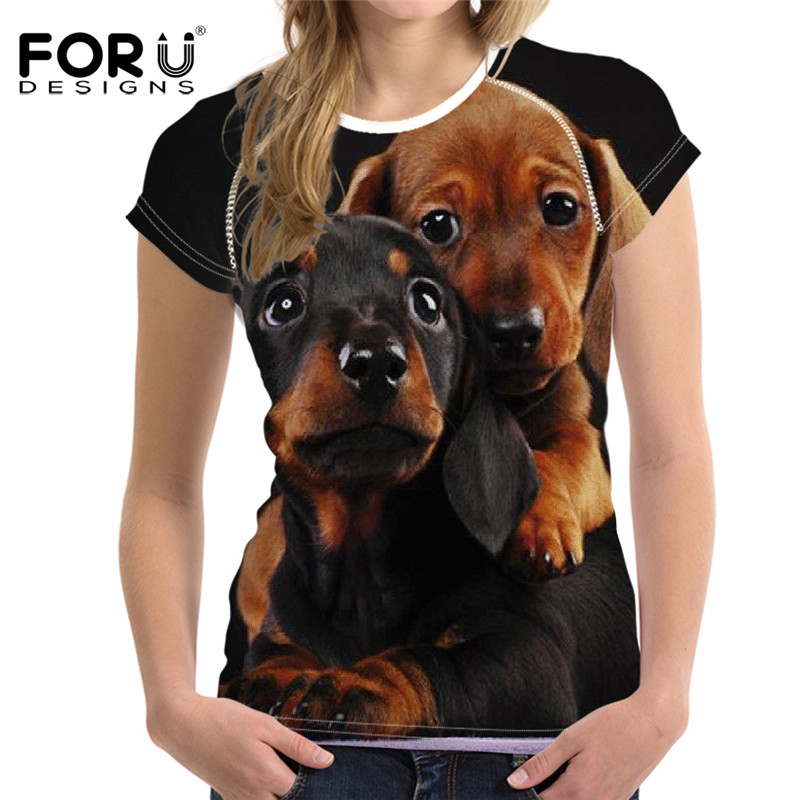 FORUDESIGNS 3D Dog Horse T Shirt Women Tee Tops Femme Brand,Panda Kawaii Ladies Basic T-shirt Woman Elastic Clothes Bodybuilding